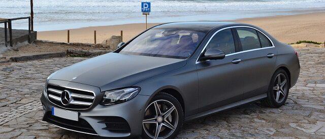 Porto taxi Mercedes Benz E Class next to the sea